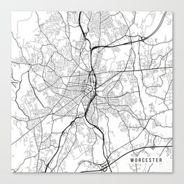 Worcester Map, USA - Black and White Canvas Print