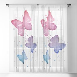 Butterflies Watercolor Abstract Splatters Sheer Curtain