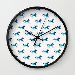 blue horse pattern Wall Clock