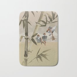 Spring Sparrows in Bamboo Tree Bath Mat