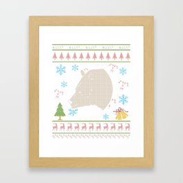 Grizzly Bear Mounted Head Hunting Christmas Ugly Holiday Shirt Framed Art Print