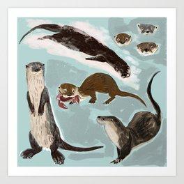 New World otters Art Print
