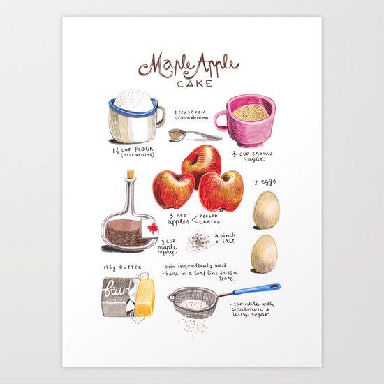 illustrated recipes: apple maple cake Art Print