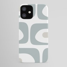 Mid Mod Piquet Abstract Minimalist Pattern White and Light Blue-Gray  iPhone Case