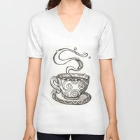 whisky V-neck T-shirts featuring She drinks whisky in a tea cup by grishpradip