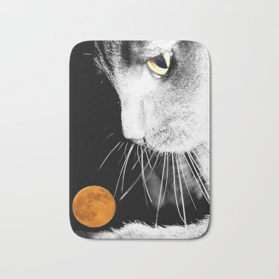 Silver Cat and Moon Bath Mat