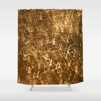 gold glitter Shower Curtains featuring Gold Glitter 2484 by Cecilie Karoline