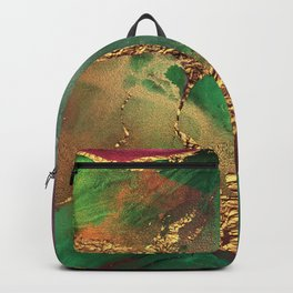 Trendy Glitter Gold, Green, and Pink Paint Texture Backpack