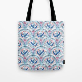 Art Deco Fresco in Cool Mediterranean Blue and Red Tote Bag