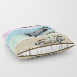 Back to the Future - Delorean x 4 Floor Pillow
