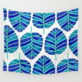 Elephant Ear Alocasia – Blue & Turquoise Palette Wall Tapestry