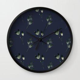 Winter Leaf Pattern (Blue) Wall Clock