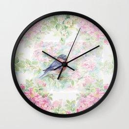 Bullfinch Bird in the Rose Garden Wall Clock