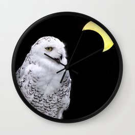 Snowy Owl Crescent Moon Photograph - Clarity in the Darkness Wall Clock