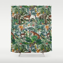 Floral and Animals Pattern III Shower Curtain
