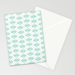 Aqua menthe and white art deco seashell pattern Stationery Cards
