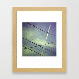 Contrail and Power Lines Framed Art Print