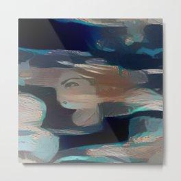 Dual Portrait Blue Corner Metal Print