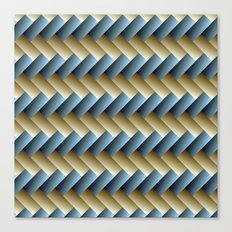 3D Weave, Blue and Yellow Gold Canvas Print