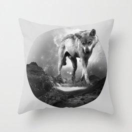 Galactic Wolf Throw Pillow