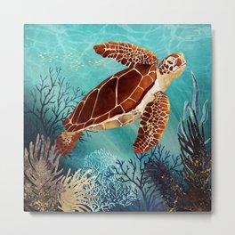 Metallic Sea Turtle Metal Print