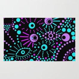 Abstract polka dot purple , black , turquoise . Rug