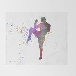 Taewondo-karate-muay thai-wrestling in watercolor 05 Throw Blanket