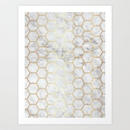 Honeycomb Marble Gold #767 Art Print