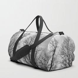 Creepy black and white trees Duffle Bag
