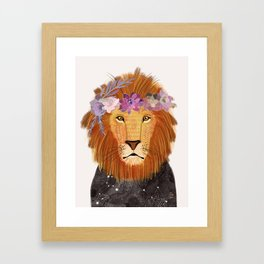 Lion with flowers on head Framed Art Print