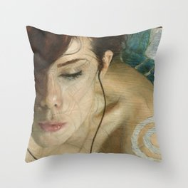 Woman Portrait Listening with Earphones Female Figurative Painting Throw Pillow