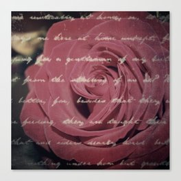 Antique Red Rose with Text Canvas Print