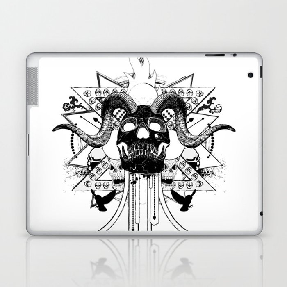 Rock Horned Skull Graphic  Laptop & iPad Skin