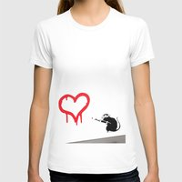 banksy T-shirts featuring Banksy Rat Love Black&White Red Heart by Premium