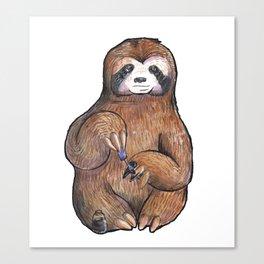 sloth painting nails Canvas Print