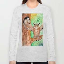 Horned Owl and Owlets in a Nest Long Sleeve T-shirt