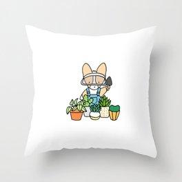 Corgi Garden Succulents Throw Pillow