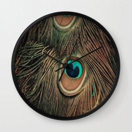 Peacock feathers abstract II Wall Clock