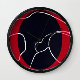 Lined - red circle graphic Wall Clock