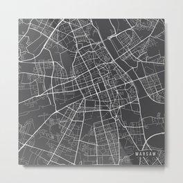 Warsaw Map, Poland - Gray Metal Print