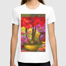 TROPICAL PINK ORCHIDS RED AMARYLLIS STILL LIFE PAINTING T-shirt