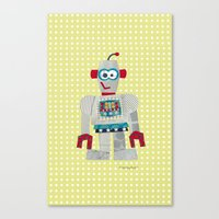 50s Canvas Prints featuring strumm 50s robot  by blossyfloss