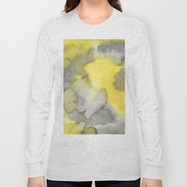 Hand painted gray yellow abstract watercolor pattern Long Sleeve T-shirt