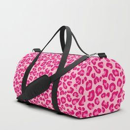 Leopard Print in Pastel Pink, Hot Pink and Fuchsia Duffle Bag