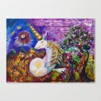 unicorn Canvas Prints featuring Unicorn by CrismanArt