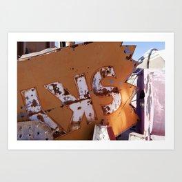 Broken Down Orange Signs in Las Vegas Art Print