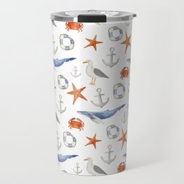 Watercolor nautical pattern Travel Mug