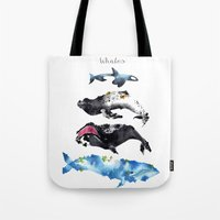 whales Tote Bags featuring Whales by Amee Cherie Piek