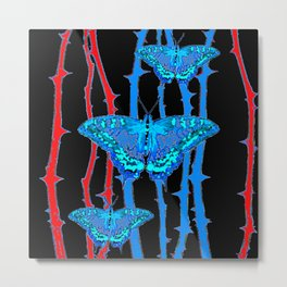 BABY BLUE MOTHS WITH  THORN CANES BLACK ABSTRACT Metal Print