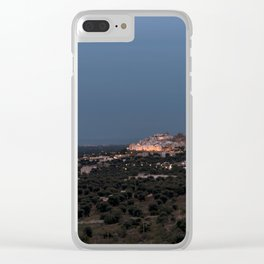 Panoramic view of the medieval white village of Ostuni at sunset blue hour Clear iPhone Case